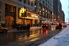 Encore (Flint Foto Factory) Tags: chicago illinois urban city winter february 2018 downtown loop blizzard snow cold inclement weather cibc bankofamerica theater theatre 18 wmonroest monroe statest intersection sign signage marquee hamilton musical entrance friday afternoon wet street reflection blick art supply store american apparel cadillac escalade