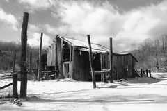 Roadside Ruins (jeffersonellis) Tags: bw old rustic rural barn farm monochromatic monochrome sky cloud clouds cold snow winter weather appalachia country