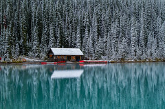 The Boathouse (Robert R Grove 2) Tags: boathouse canoes lake banff trees snow canada reflections robertrgrove landscape