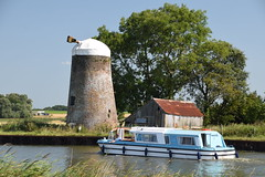 Oby Drainage Mill (Worthing Wanderer) Tags: norfolk summer sunny cloudy water boats farmland august bure broads pathfinderguides path