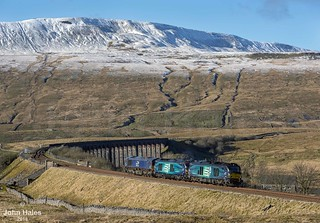 68004, 68005 and 66302 at Ribblehead on 09 Feb 18.