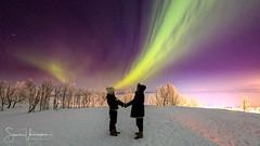 Love lights (SamppaV) Tags: northernlights auroraborealis sigma14mmf18dghsmart revontulet ruotsi sweden kiruna björkliden couple snow cold mountain skiresort