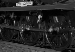 Wheels in motion (Andrew Edkins) Tags: 34052 lorddowding 34046 braunton railwayphotography lightengine light geotagged pan blur wheels blackandwhite bearleyjunction steamtrain uksteam cathedralsexpress canon trip travel name monochrome april spring 2017 warwickshire