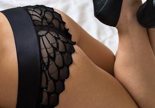 In Black Underwear