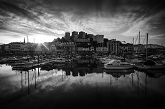 Riviera (Picture South West) Tags: torquay devon mono bw canon 7d reflections yachts boats harbour architecture waterfront