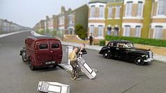 Keep Left CATastrophe (kingsway john) Tags: 176 scale oo gauge model car vehicle diorama layout tramway kingsway models oxford diecast classix