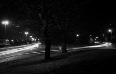 Cheshire Oaks Lights (47/365) (Rachael Webster UK) Tags: cheshireoaks cheshire longexposure longexposurephotography canon canon650d 650d blackandwhite project365 365project roads lighttrails cars fltofb