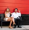 Restaurant Patrons (UrbanphotoZ) Tags: couple sitting bench cigar dress lace beard whiteshirt untucked smartphone chain distant red black upperwestside manhattan newyorkcity newyork nyc ny