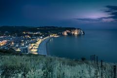 Good night Etretat! (Sizun Eye) Tags: etretat normandie france hautenormandie cliffs night beach lights meadows fence sizuneye town nikond750 nikkor1424mmf28 1424mm nikon coast coastline