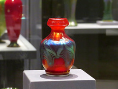 A Tiffany Favrile red glass vase. (vickilw) Tags: thehuntington tiffany favrile red glass vase 6ws 7daysofshooting week27 banginthemiddle focusfriday