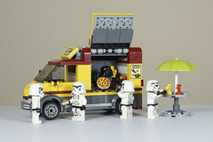 Darth Had To Make A Living Somehow After The Death Of The Death Star (Skyline:)) Tags: smile fun humour pizza starwars minifigures vehicle food lego small colours desktop van