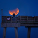 Fisherman on Venice Pier taking a photograph of the Supermoon blue blood moon with partial lunar eclipse, Venice, Florida