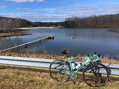 Chris Greene Lake Park (Bob Mical) Tags: bicycle ride bianchi 1885 lake albemarlecounty charlottesville virginia celeste