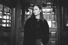 Untitled (miguel_lorente) Tags: portrait netherlands jeans doors street bnw fashion young sony contrast city naturallight bn girl blackandwhite monochrome longhair beauty coat outdoors bw furr model station beautiful