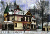 Painted_1905_Queen_Anne (Sy_In_Indy) Tags: digitalpainting rebelle woodruffplace victorianhouse queenann queenanne