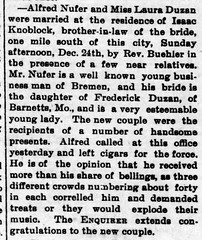 1893 - Alfred Nufer marries Laura Duzan - Enquirer - 29 Dec 1893
