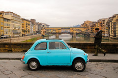 Italian heritage (cluffie598) Tags: italy firenze florence fiat ponte vecchio bridge tuscany blue toscana car