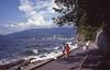 Vancouver in Kodachrome (yukonchris) Tags: vancouver bicycle scannedimage 1982 walking street people kodachrome nikonfm canada walkers sarah film britishcolumbia