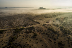 Morning Fog (Terry L Richmond) Tags: arizona santanvalley sea ocean desert mountains landscape sand sky beach nature outdoors outdoor morning top horizon field atmosphere scenery ecoregion sitting dirtroad plain gravel mist green seascape island drone djiphantom4pro flora road noperson laying plant travel large vegetation grass cloud cloudy tundra dirt scenic dawn