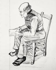 "Copie d'un dessin de van Gogh : ""Homme assis en train de lire"". (cecile_halbert) Tags: dessin crayon graphite crayonné carnet croquis vangogh sketching sketcher sketch sketchbook draw drawer drawing pencil pencildraw pencildrawing pencilsketch portrait personne character carbondrawing carbondraw"