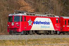 618 : flyedelweiss.com (Thomas Naas Photography) Tags: malans schweiz switzerland eisenbahn railways zug züge train lokomotiven locomotives fahrzeug outdoor werbeloks advertising spezialbemalung specialpaint ge44ii rhätische bahn rhb flyedelweisscom bergün bravuogn