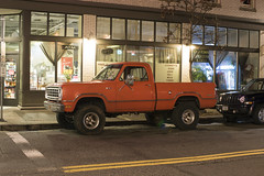 1974 Dodge D100 (Curtis Gregory Perry) Tags: portland oregon dodge pickup truck 1974 1975 1973 1972 1976 orange red night long exposure old town cigarette soda juice deli milk candy grocery atm store shop bodega downtown pdx nikon d810 adventurer