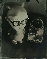 Little Enid and Transistor Radio (thereisnocat) Tags: anscouniversalviewcamera tintype wetplatecollodion oldworkhorse ilfordrapidfixer nopotassiumcyanide workshop class penumbra penumbrafoundation 4x5 largeformat manhattan newyorkcounty newyorkcity newyork ny