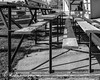 DSCF0005 (agianelo) Tags: bleacher bench seat wood angle iron monochrome bw blackkandwhite