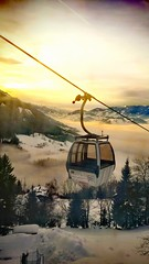 Sunset in the Alps (DrQ_Emilian) Tags: sunset sunlight sunshine lanscape view mountains alps nature outdoors fog foggy trees skiresort skilift cabin cabelcart light colors details travel austria alpendorf stjohann flachau ski sky clouds mood