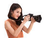 Asian lady with DSLR camera (I love landscape) Tags: camera isolated photographer background woman technology digital photo young girl white beautiful photograph picture attractive studio journalist female pretty lifestyle person lady photography shoot adult model leisure holding hobby lens snapshot taking shutter paparazzi people happy portrait teen fashion face asian thai asia smile elegance hand women equipment expression dslr