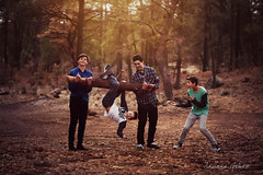 These Four (Adriana Gomez Photography) Tags: boys brothers outdoors play roughhousing joy fun crazy kids imagination forest trees jessicadrossin life happy childhood teens teenager teenageboy preteen preteens happiness laughter