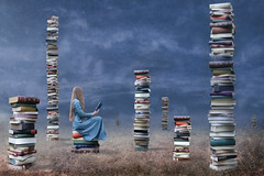 Untold Stories (Nwywre) Tags: fineart conceptual story surreal fantasy composition digiart book books buch bücher outdoor girl blonde