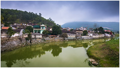 Small Village (=Heo Ngốc=) Tags: village small boat river water green countryside mountains mood clouds trees hill ancient nobody d300 tokina1116 nikon vietnam hatrung thanhhoa