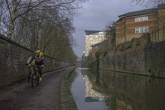 20180111-The Cube view (Damien Walmsley) Tags: cube cyclist canal birmingham birminghamcanal reflections sun afternoon water towpath january canalside walk canalsidewalk