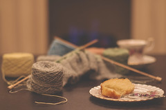 12/365: Knitting, tea and cake (judi may) Tags: 365the2018edition 3652018 day12365 12jan18 knitting tea cupandsaucer cake plate fork knittingneedles wool yarn table tabletopphotography fire flames bokeh depthoffield dof soft softness canon7d 50mm matte