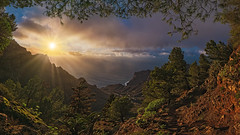 Taguluche (Jörg Bergmann) Tags: camino islascanarias lagomera mirador puestadesol taguluche atardecer canarias canaryislands clouds contraluz españa frame gomera hiking landscape light mountains nature ocean path rain rays sea senderismo sky spain stitched sun sunbeams sunrays sunset travel vacation westcoast winter gf7 1232mm lumix panasonic mft m43 sunlight forest pine pinuscanariensis seascape twb microfourthirds micro43
