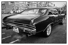 chevelle (Kruijssen) Tags: fujifilmx30 bw black white zwart wit auto wagen classic car street haarlem petrol fumes