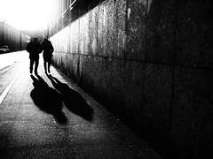 backlight (Sandy...J) Tags: olympus urban noir light licht street streetphotography sw schwarzweis strasenfotografie stadt shadow fotografie people photography walking walk wall white black germany deutschland monochrom silhouette winter blackwhite bw
