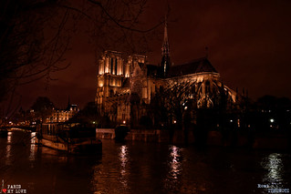 Notre-Dame and Seine river overflow by night