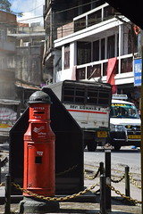 Ghum/Ghoom: postbox (victoriaei) Tags: india indianstreetphotography october 2016 asia autumn darjeelingdistrict ghum ghorkaland d5300 nikon postbox streetscenes street steam red traffic morning lorry northeast smoke