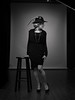 Louise with a feathered hat (Bruce M Walker) Tags: wife woman portrait mediumformat studio vintagehat feather pearls lowkey blackandwhite monochrome bnw