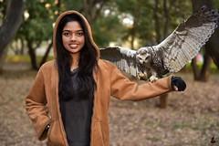 Rashi (rajnishjaiswal) Tags: rashi daughter girl smiling smilinggirl nature forest owl owlsittingongirlsarm wings wingsspread wingsopen wingsstreached trees green grey portrait composite compositeimage