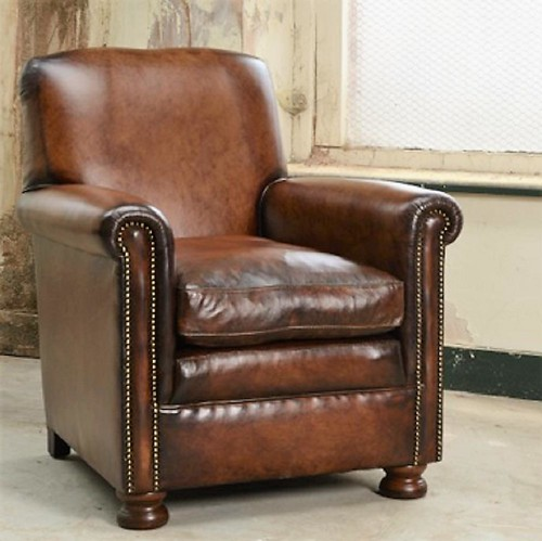 Hand Antiqued Leather Armchair