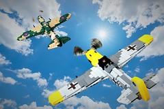 Dogfight: Spitfire Vs Me 109 (Lego Admiral) Tags: lego legoadmiral battleofbritain supermarine spitfire messerschmitt me109 bf109 british german fighter fighters plane ww2 wwii dogfight