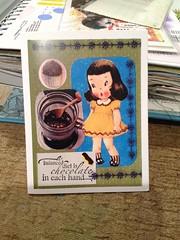 Yum Chocolate, Greeting Card (bknill00) Tags: chocolate fudge vintage retro children greeting card mail