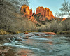 Cathedral Rock and Oak Creek - 2012 (TAC.Photography) Tags: arizona arizonapassages redrock oakcreek sedona cathedralstream river flowing rushingwater ripples sunset goldenglow tomclarkphotographycom tacphotography tomclark d3000
