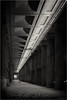 follow the light (goehler.mike) Tags: bw black white sw schwarz weiss architektur architecture einfarbig sepia linien lines berlin nacht night abstrakt abstract perspektive perspective look up