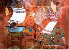 Postcrossing BY-2246097 (booboo_babies) Tags: red folk folkart annasilivonchik fantasy painting art clothes clothesline postcrossing