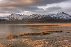 Meandering (Bob Bowman Photography) Tags: mountain grass water landscape lake pond clouds sierra morning light snow peaks california sunrise cold
