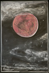 3rd Grade: Super Blue Blood Moon (ArneKaiser) Tags: 3rdgrade boarddrawings hws haleakalāwaldorfschool mrkaisersclass waldorf chalk chalkart chalkboard chalkdrawings